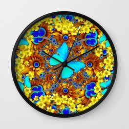 OPULENT YELLOW FLOWERS & BLUE SATIN BUTTERFLY ART Wall Clock
