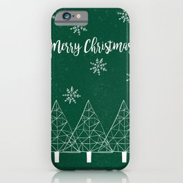 Merry Christmas Green iPhone Case