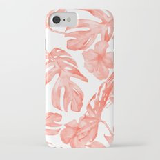 Tropical Hibiscus and Palm Leaves Dark Coral White iPhone 7 Slim Case