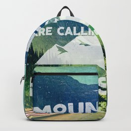 The Mountains are Calling and I Must Go White Backpack