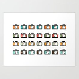 Colourful Camera Icons Art Print