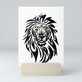 Lion face black and white Mini Art Print