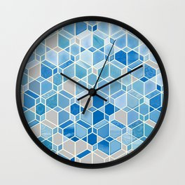 Cubes & Diamonds in Blue & Grey  Wall Clock