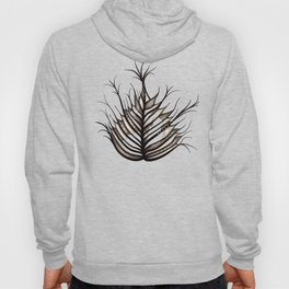Abstract Hairy Leaf Art In Sepia Hoody