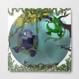 Rhino and Dino Swing Metal Print