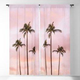 Palm Tree Photography   Landscape   Sunset Unicorn Clouds   Blush Millennial Pink Blackout Curtain