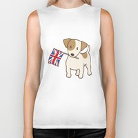 jack russell Biker Tanks featuring Jack Russell Terrier and Union Jack Illustration by Li Kim Goh