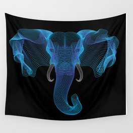 The Eloofah Elephant (Blue) Wall Tapestry