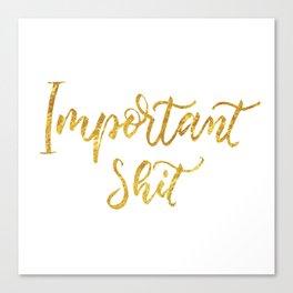 Important shit- gold letters Canvas Print