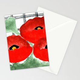Poppies and Plaid Stationery Cards