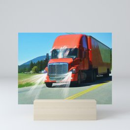 Big Red - Lorry Art for Truck-lovers and Truckers Mini Art Print