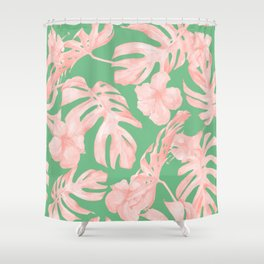 Island Life Seashell Pink + Green Shower Curtain