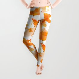 Orange Poppies And Butterflies On A White Background #decor #society6 #buyart Leggings