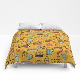 Food Frenzy yellow Comforters