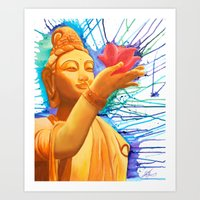 budi satria kwan Art Prints featuring Kwan Yin with Lotus by Keshia Cheung