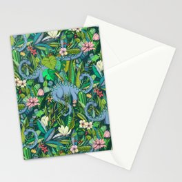 Improbable Botanical with Dinosaurs - dark green Stationery Cards
