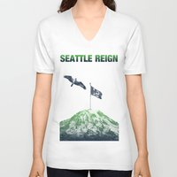 seahawks V-neck T-shirts featuring SEATTLE REIGN by Brandon sawyer