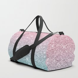 Salmon Pink To Turquoise-Blue Sparkling Glitter Duffle Bag