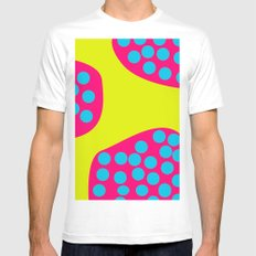 Green Purple Dots Mens Fitted Tee MEDIUM White
