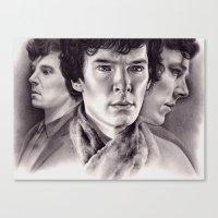 sherlock Canvas Prints featuring Sherlock by KatePowellArt