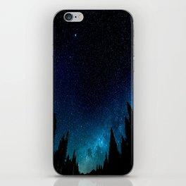 Black Trees Turquoise Milky Way Stars iPhone Skin