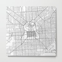 Adelaide Map, Australia - Black and White Metal Print