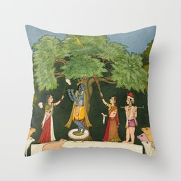 Krishna Entertains his Companions - 18th Century Classical Hindu Art Throw Pillow