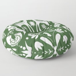 Holiday Folk art in green and white Floor Pillow