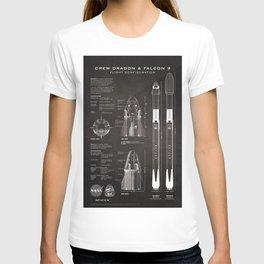 NASA SpaceX Crew Dragon Spacecraft & Falcon 9 Rocket Blueprint in High Resolution (black) T-shirt