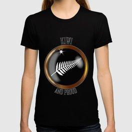 New Zealand Proud Flag Button T-shirt