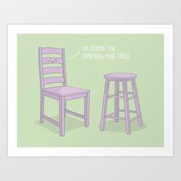 Something More Stable #kawaii #chair Art Print