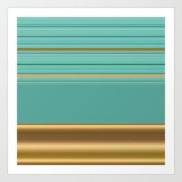 sea and sand minimal striped pattern Art Print