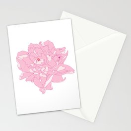 Pink and White Peony Flower Summer Garden Illustrated Print Stationery Cards