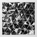 Geometric Whispers - Abstract, black and white triangular, geometric pattern by printpix