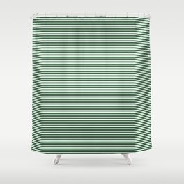 Thin Forest Green and White Rustic Horizontal Sailor Stripes Shower Curtain