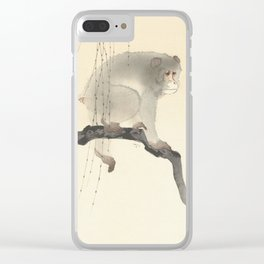 Monkey on tree branch, Ohara Koson Clear iPhone Case
