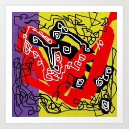 Abstract violet red yellow black Art Print
