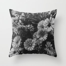 FLOWERS - FLORAL - BLACK AND WHITE Throw Pillow
