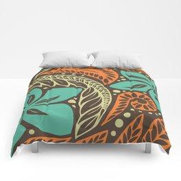 Circular Polynesian Blue Brown Orange Floral Tattoo Comforters