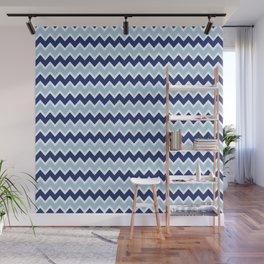 Navy Blue and Light Blue Chevron Wall Mural