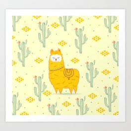 Alpaca summer Art Print