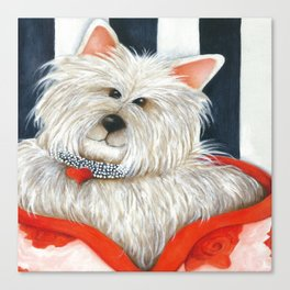 Dog Rose Portrait westie terrier  Canvas Print