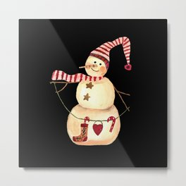 Vintage snowman Metal Print