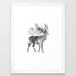 Deer Wanderlust Black and White Framed Art Print