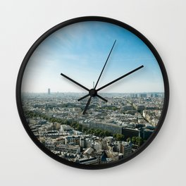 Paris France and Eiffel Tower by day time Wall Clock