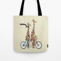 giraffe Tote Bags featuring giraffe days lets tandem by bri.buckley