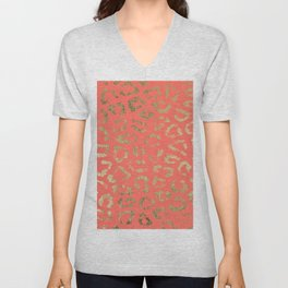 Modern coral faux gold cheetah animal print Unisex V-Neck