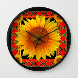 RED-TEAL BLACK  DECO YELLOW SUNFLOWERS Wall Clock