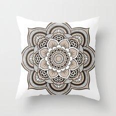 Beige Mandala Throw Pillow