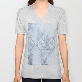 White marble blue tint geometric design Unisex V-Neck